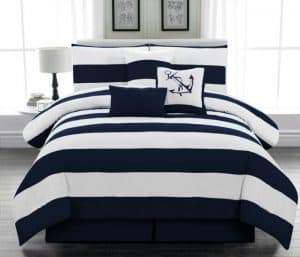 Blue Striped Nautical Bedding