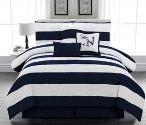 Blue Striped Nautical Bedding King