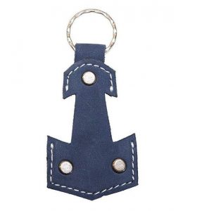 Handmade Leather Anchor Keychain