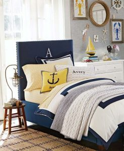 Nautical Bedding With Red And Yellow Colors