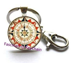 Nautical Compass Rose Keychain