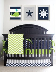 Nautical Navy And Green Baby Nursery Bedding