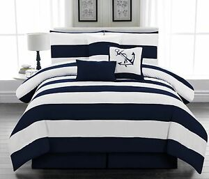 Navy Blue And White Nautical Bedding