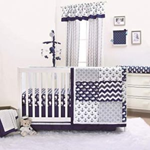 Navy Blue Nautical Crib Bedding
