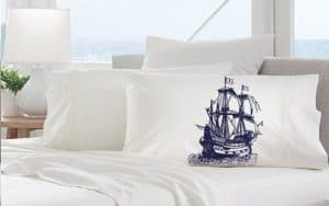 Navy Blue Nautical Tall Clipper Ship Bedding