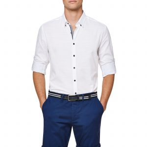 Navy Boxer White Shirt Sleeves Rolled