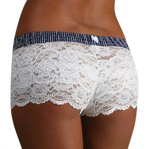 Navy Stripe White Lace Boxer