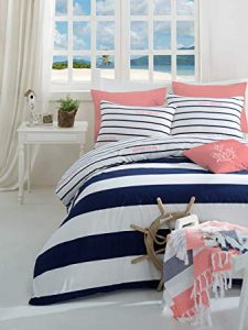 Pink And Navy Nautical Bedding