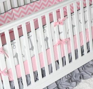 Pink And Navy Nautical Crib Bedding