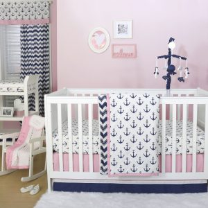 Pink Navy Nautical Baby Bedding