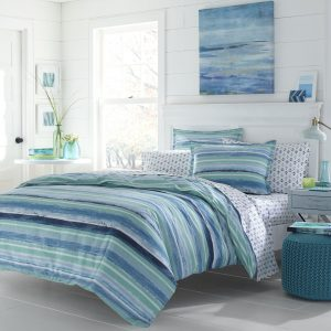 Queen Blue Stripe Ombre Bedding Nautical