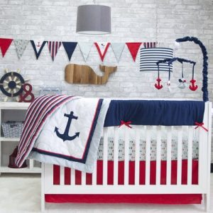 Red Nautical Crib Bedding