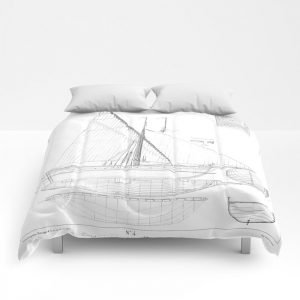 Twin Vintage Nautical Blueprint Bedding