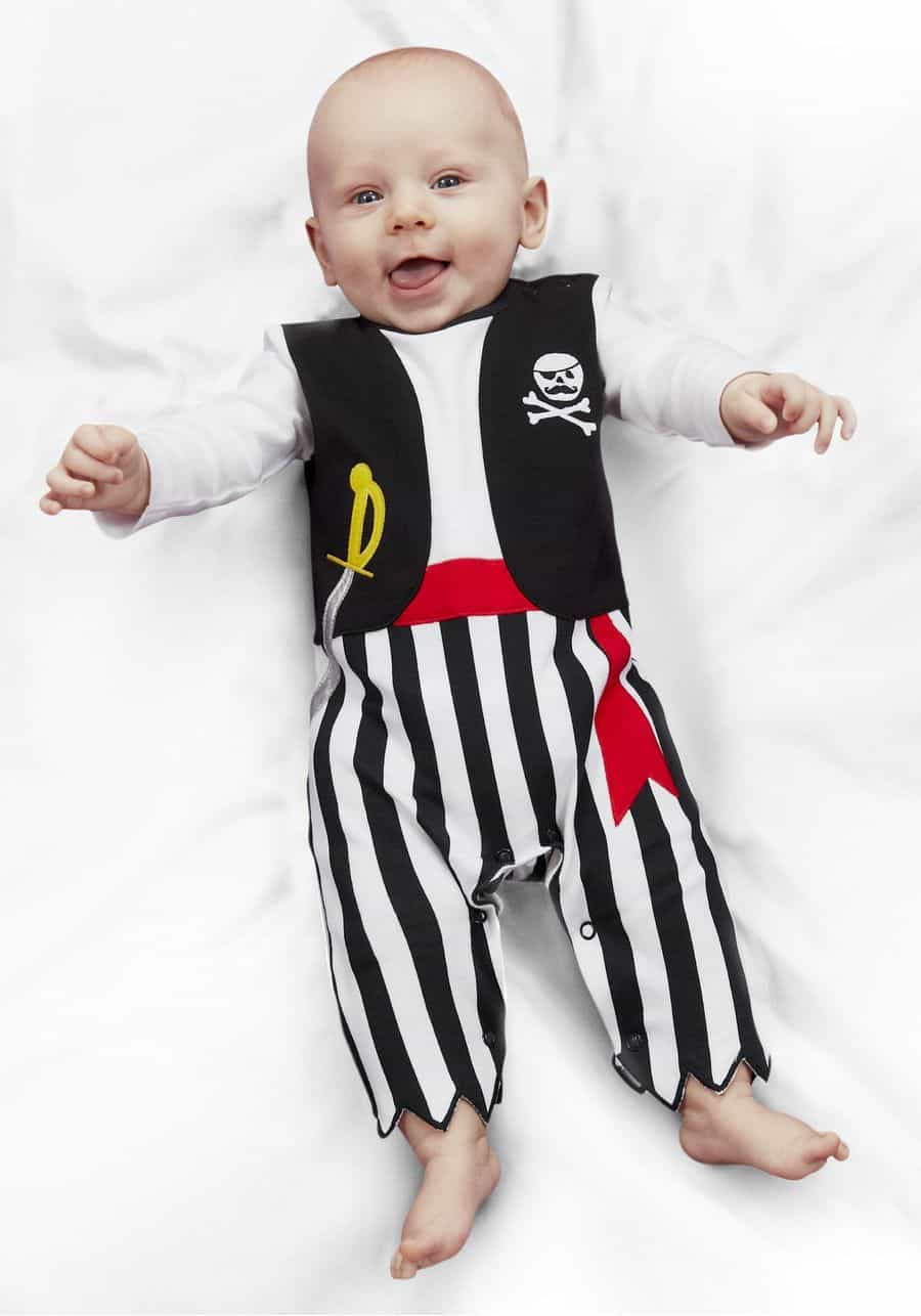 Toddler Infant Baby Boys Girls Little Pirate Costume,Long Sleeve Romper Captain Halloween Party Role-Playing Outfits Set