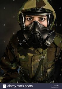 Marine Costume With Gas Mask