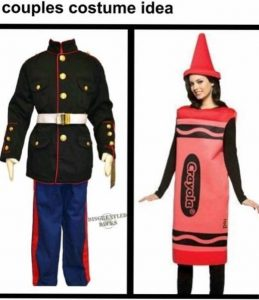 Marine Halloween Costume With Crayon