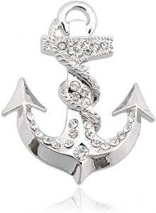 anchor crystal brooch