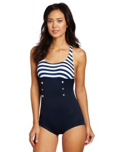 Anchor One Piece High Neck Swimming Suit